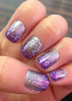 Purple Sparkle Gradient--Rock Star Nails!