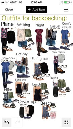 Backpacking travel outfits! Created by KateLynn Beutler on Polyvore Could easily be modified for more practical shoes.