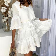 Simplee Elegant embroidery white women dress Flare sleeve ruffle sashes summer dresses Casual v-neck sexy dress female vestidos