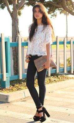 white lace + skinnys.
