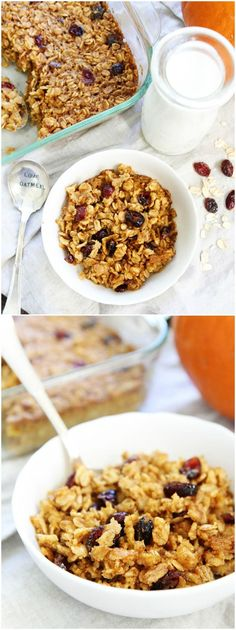Pumpkin Baked Oatmeal Recipe on twopeasandtheirpod.com This easy baked oatmeal is the perfect fall breakfast!