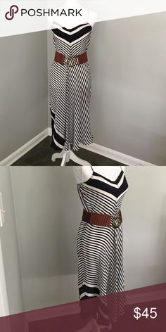 100% Silk Navy and White Sundress So cute and perfect for warm weather. Adjustable straps. Navy blue and white stripe. Hits mid calf. Worn once and in excellent condition. No stains or tears. Belt not included. Beyond Vintage Dresses Midi