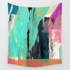 [Still] Hopeful [2] - a bright mixed media abstract piece Wall Tapestry. #painting #watercolor #acrylic #ink #street-art #abstract #expressionism #blanket #comforter #wall-art #wall-decor #fine-art #case #shower-curtain #pillow #rug #carry-all #tapestry #phone #towel #neon