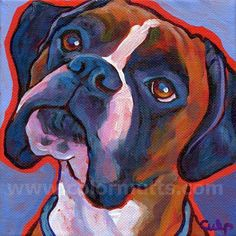 Colorful BOXER Dog Portrait Original Art Painting on by colormutts Der Boxer, Boxer Bulldog, Boxer Puppies, White Boxer Dogs, Paint Your Pet, Boxer Love, Dog Tattoos, Dog Portraits, Animal Paintings
