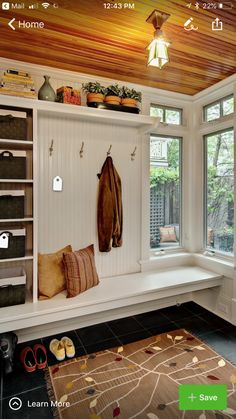 Love this for a mud room! I would have a cool mud room like this in my dream house! Entryway Storage, Entryway Ideas, Shoe Storage, Storage Baskets, Bench Storage, Organized Entryway, Storage Shelves, Hallway Ideas, Open Shelving
