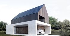 Modern Home by MooMoo Architecture Roof Architecture, Minimalist Architecture, Modern Architecture House, Modern House Design, House Cladding, House Siding, Modern Barn, Modern Farmhouse, Modern Bungalow