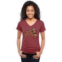 Minnesota Golden Gophers Women's Auxiliary Logo Tri-Blend V-Neck T-Shirt - Maroon