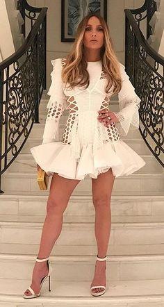 Jennifer Lopez is Instaglam in Dubai wearing Balmain. #bestdressed