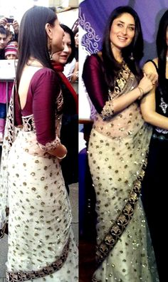 Manish Malhotra sari on Kareena looks stunning. I love the oxblood long sleeved blouse with the off white sari.