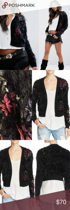 New FREE PEOPLE Treat Yourself Fuzzy Cardigan Teeming with texture that practically begs to be touched, this open-front cardigan from Free People features floral embroidery for an extra feminine flourish.  Intentional fringe style pieces in embroidery.  Open-front silhouette, long sleeves, ribbed-knit trims. Allover faux-fur texture and floral embroidery, cropped. Never worn, excellent condition. See pics. Size L. Free People Sweaters Cardigans