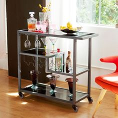 Wine Bar Cart Bottle Stemware Glasses Storage Mobile Serving Glass Gunmetal Lock #GunmetalBarCart #Modern