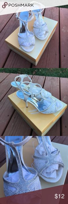 """Bridal Lace and Jeweled Heels Worn twice, in good condition! Minimal wear as shown in pictures. (Some minor glue marks present at purchase) Heels are 1.4"""" tall. David's Bridal Shoes Heels"""