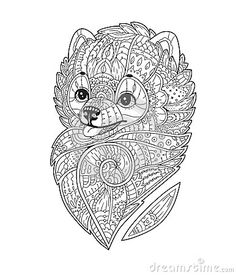 Zen art stylized Dog. Vector hand drawn pom. Pomeranian spitz. Adult antistress coloring page. Doodle sketch for T-shirt print, logo, tattoo. Black isolated illustration on white background.