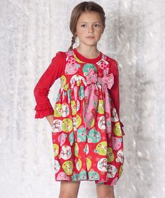 With dainty ruffled cuffs, a darling mix of prints and unique layered look, this ensemble is ready for a walk on the smile side. Soft cotton and long sleeves keep cuties comfy with delightful ease.