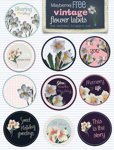 Vintage Flower Labels freebie from Maybemej #digiscrap #scrapbooking #digifree #scrap #freebie #scrapbook