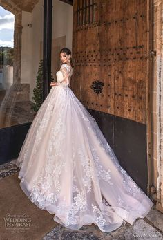 """Naviano 2019 Wedding Dresses — """"Voyage"""" Bridal Collection nora naviano 2019 bridal long sleeves sweetheart neckline full embellishment princess romantic ball gown a line wedding dress sheer button back royal train bv -- Nora Naviano 2019 Wedding Dresses Wedding Dress Silk, Wedding Dress Tea Length, Long Sleeve Wedding, Wedding Dress Sleeves, Elegant Wedding Dress, Dream Wedding Dresses, Bridal Dresses, Bridesmaid Dresses, Lace Wedding"""