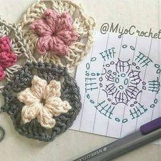 Transcendent Crochet a Solid Granny Square Ideas. Inconceivable Crochet a Solid Granny Square Ideas. Diy Crochet Doilies, Appliques Au Crochet, Crochet Diy, Crochet Motifs, Love Crochet, Crochet Flowers, Crochet Stitches, Crochet Patterns, Granny Square Crochet Pattern