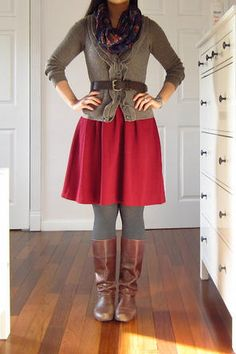 Red skirt ( would like just below the knee), gray tights & sweater (would like brown), brown boots