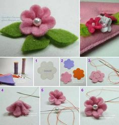 felt flower pic how to - stuffed soft toy craft idea project brooch jewelry Flower Pens, Hand Flowers, Cloth Flowers, Diy Flowers, Crochet Flowers, Fabric Flowers, Paper Flowers, Felted Flowers, Diy Hair Bow Holder