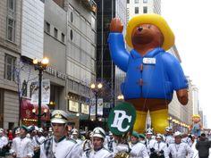 Paddington Bear follows behind the Providence Catholic High School Marching Band in the 2009 McDonald's Thanksgiving Parade.