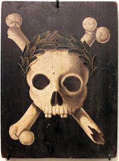 Plague Panel with the Triumph of Death. Panels of this kind were placed on the walls of houses to warn against the plague. A plague epidemic raged in Augsburg between 1607 and Collection of Deutsches Historisches Museum Berlin. Memento Mori, Samhain, Die Pest, La Danse Macabre, Berlin Museum, Black Death, Vanitas, Skull And Crossbones, Skull And Bones