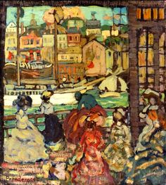 Maurice Prendergast - East Boston Ferry (1907-'10) Private Collection #art #painting #cityscape #twitart #artwit