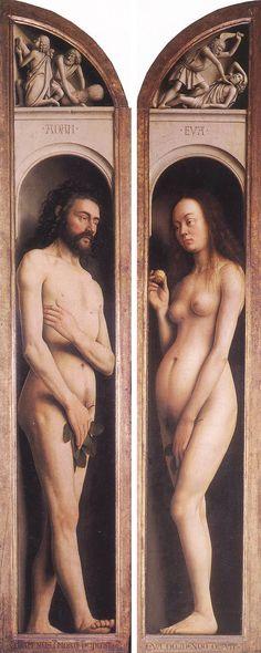 Jan van Eyck, Adán y Eva (Retablo de El cordero místico, 1430-1432), Catedral de Gante.