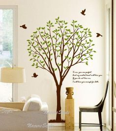[SIZE]  The tree is 190cm tall    [Colors]  You can choose 1 color for the tree trunk,letters,birds and 1 color for the leaves from our color chart.