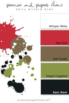 Whisper White, Real Red, Old Olive, Soft Suede, Basic Black