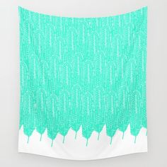 Minted Feather Wilderness - $39 Mint color tribal feather pattern tapestry. Nature inspired. #boho #bohemian #mint #tapestry #society6 #art #artist