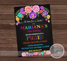 Fiesta Invitation Fiesta Birthday Party Invitation Mexican