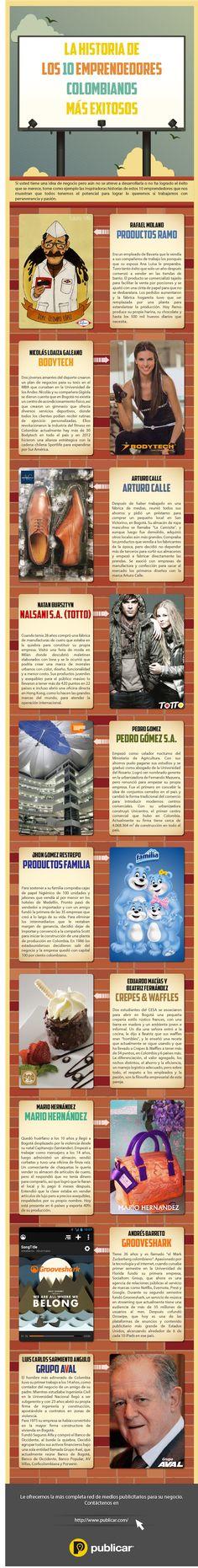 Historias de 10 Empresarios Colombianos que trabajando con pasión y determinación nos dan ejemplo de emprendimiento.