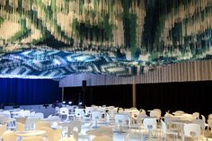 Architects Install Suspended Indian Carpet Inside The Kennedy Center For Performing Arts Ceiling Art, Ceiling Design, Interior Window Shutters, Ceiling Installation, Club Design, Restaurant Interior Design, Commercial Interiors, Commercial Design, Architects
