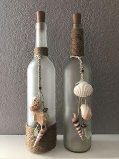 Beach Wine Bottle/ seashells/ burlap/ frosted bottle/ beads/ cork lights/ sea glass/ diy Best Picture For school Craft Wine Bottle Corks, Glass Bottle Crafts, Diy Bottle, Diy With Glass Bottles, Diy Projects With Wine Bottles, Whiskey Bottle Crafts, Painted Wine Bottles, Lighted Wine Bottles, Bottle Lights