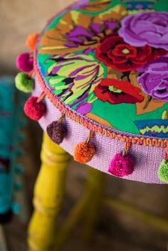 ⋴⍕ Boho Decor Bliss ⍕⋼ bright gypsy color & hippie bohemian mixed pattern home decorating ideas - stool with pom poms  :-)