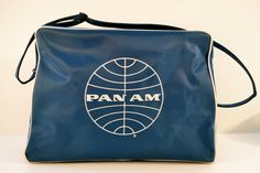 PAN AM Airlines Blue Travel Logo Bag by MidCenturyMantiquing