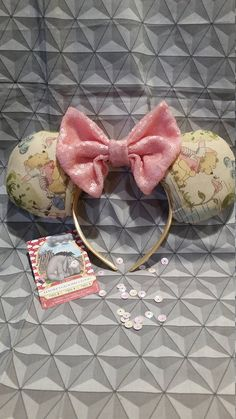 Pooh Inspired Mouse Ears // Headband // Winnie the Pooh // Hundred Acre Woods // Pooh Bear // Pooh a Mouse Ears Headband, Ear Headbands, Winnie The Pooh Ears, Hundred Acre Woods, Child Please, Notes Design, Disney Ears, Pooh Bear, Sequin Fabric