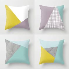 NORDIC Color Block Triangles Throw Pillow Indoor Outdoor Cushion cover case White Mustard yellow Stone Dove Grey Duck egg Aqua Blue Mauve - On My Block Sewing Pillows, Diy Pillows, Decorative Pillows, Throw Pillows, Outdoor Cushion Covers, Outdoor Cushions, Diy Cushion, Pillow Inspiration, How To Make Pillows