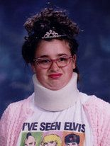 not your average prom queen. confidence is key. and no, her neck was not really broken..