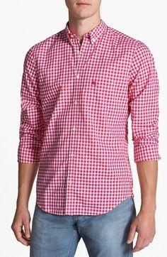 Burberry Brit 'Adken' Gingham Trim Fit Cotton Sport Shirt | Nordstrom #menfashion