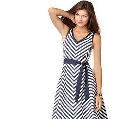 navy chevron dress casual
