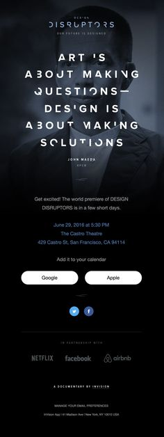 The world premiere of DESIGN DISRUPTORS is this Wednesday! - Really Good Emails