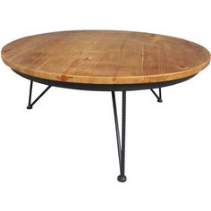 Round Metal Wood Coffee Table 33-in ❤ liked on Polyvore featuring home, furniture, tables, accent tables, round metal table, metal coffee table, circular coffee table, wood table and round wooden coffee table