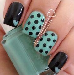 make-up, nails, teal, black, polka dots, patterns, hearts