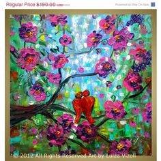 birds on flower branches | ... Flowers Tree Branches red birds palette knife fine art impressionism b