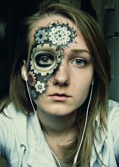Steampunk Makeup Guide: Special FX gears through skin - For costume tutorials, clothing guide, fashion inspiration photo gallery, calendar of Steampunk events, & more, visit SteampunkFashionGuide.com