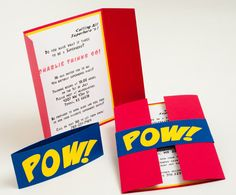 "Cute invitation inspiration - I like the red fold and the blue ""Pow"" slide on..."