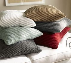 Grand Chenille Pillow Covers #potterybarn Pillow colors on the right side Tan/Gray/Red