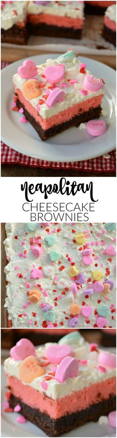Start with a box of brownie mix and add just a few things to make these totally terrific Neapolitan Cheesecake Brownies. You won't believe how simple it is to make these pretty layered treats!