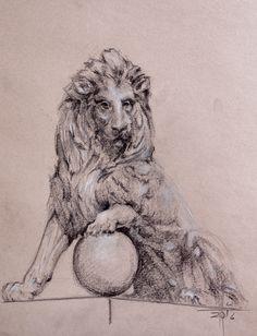 Dibujo de uno de los dos leones del Congreso de los Diputados Español. Lápiz carbón graso sobre papel Sennelier natural  A4